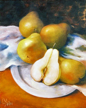 pears on silver