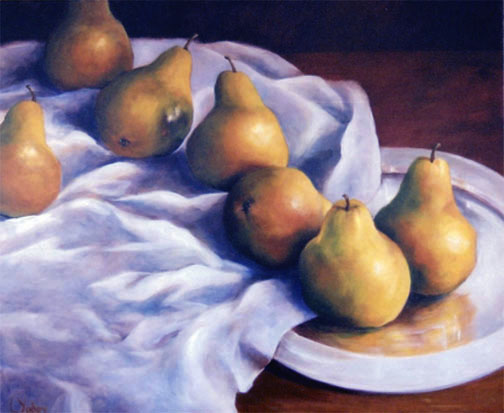 pears around a cloth